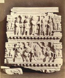 Buddhist sculpture from Karamar, Peshawar District: fragment of an urdhvapatta, showing two religious scenes of uncertain meaning. 10031023